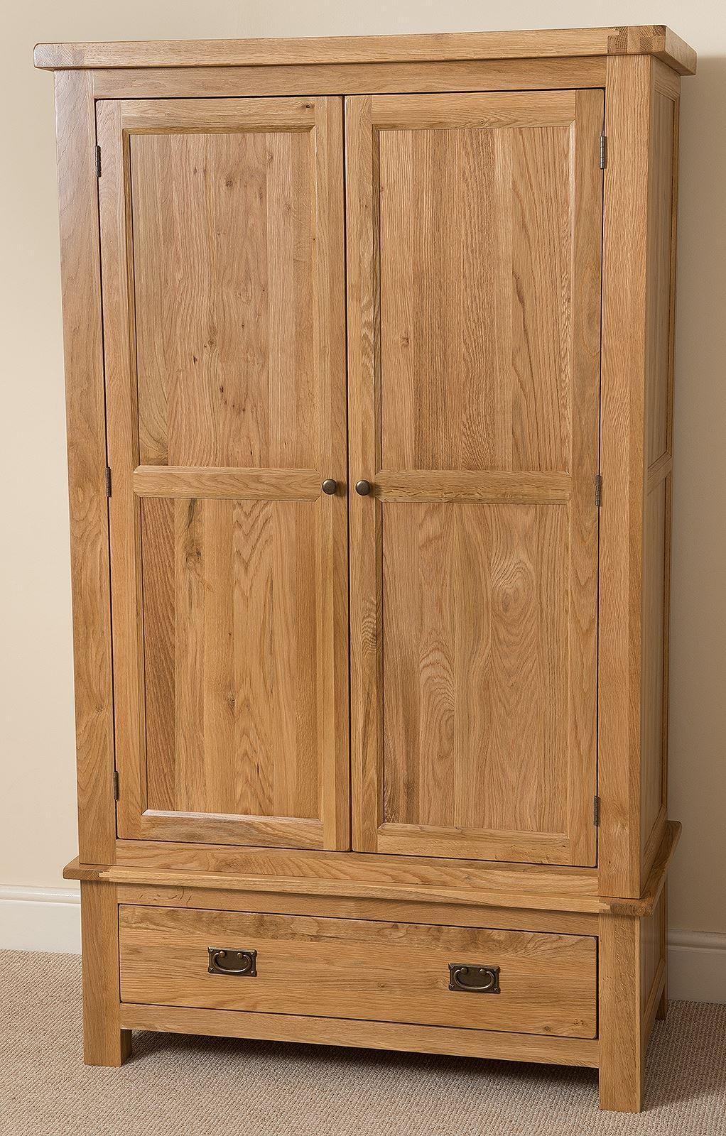 Cottage Light Solid Oak Double Wardrobe