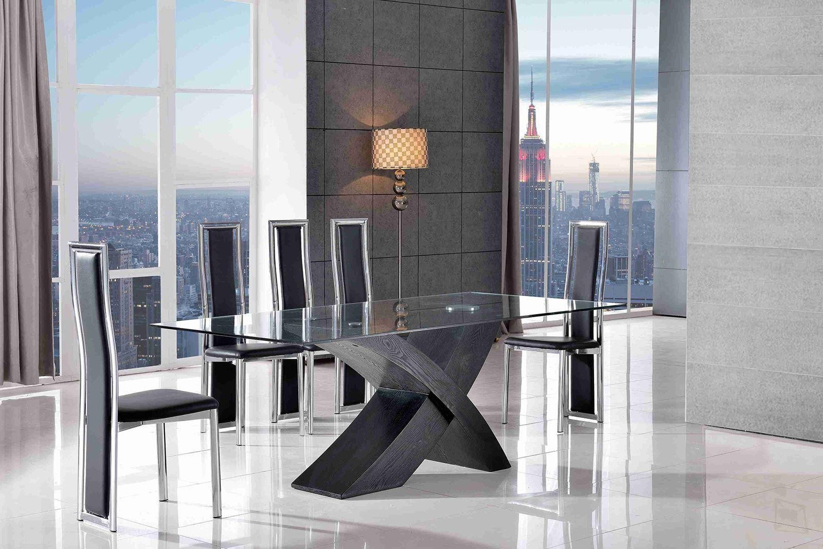 Valencia Black 160cm Wood and Glass Dining Table with 6 Elsa Designer Dining Chairs [Black]