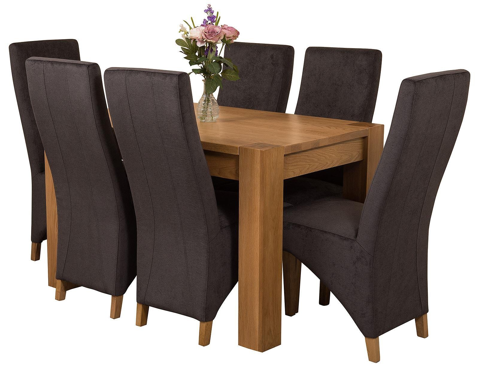 Kuba Solid Oak 125cm Dining Table with 6 Lola Dining Chairs [Black Fabric]