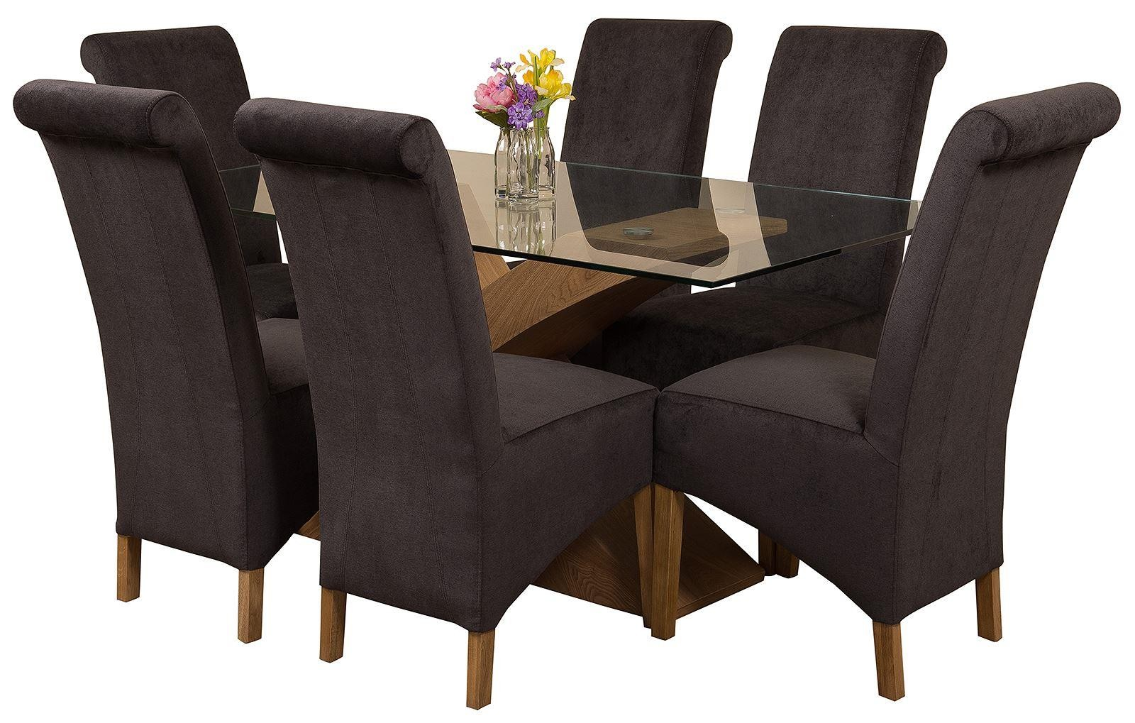 Valencia Oak 160cm Wood and Glass Dining Table with 6 Montana Dining Chairs [Black Fabric]