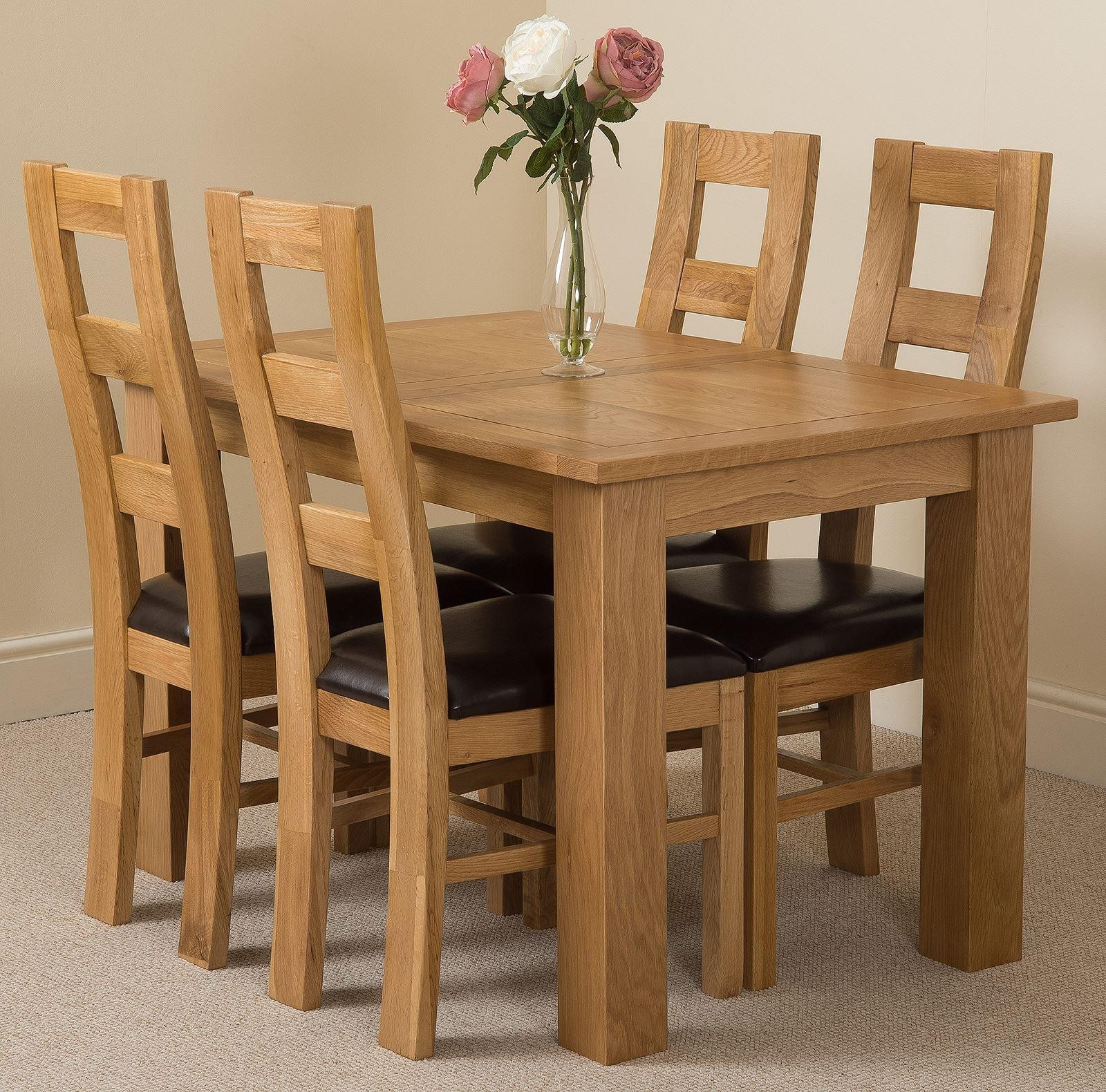 Hampton Solid Oak 120-160cm Extending Dining Table with 4 Yale Solid Oak Dining Chairs [Light Oak and Brown Leather]