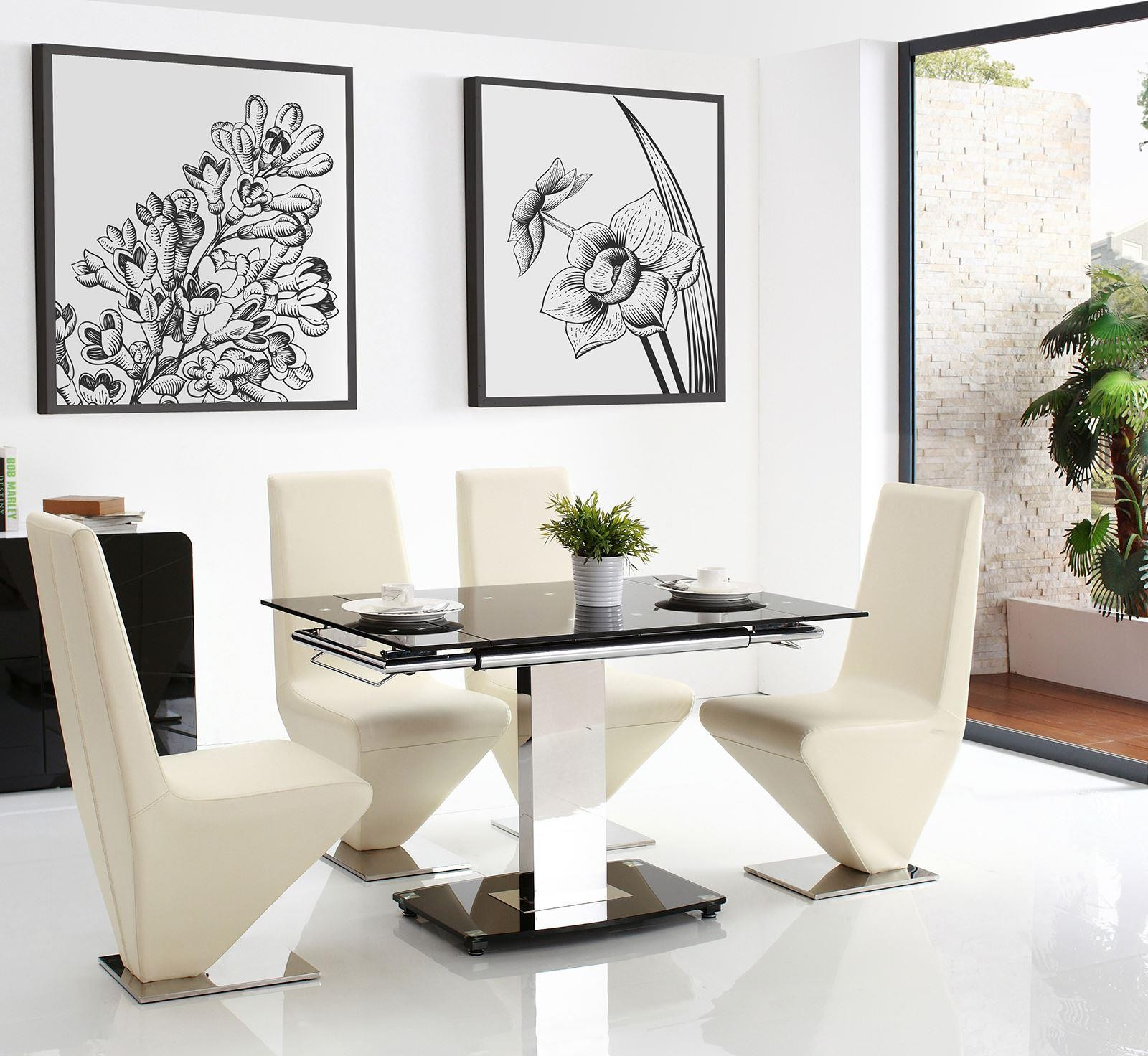 enzo dining set with 6 rita ivory chairs modern. Black Bedroom Furniture Sets. Home Design Ideas