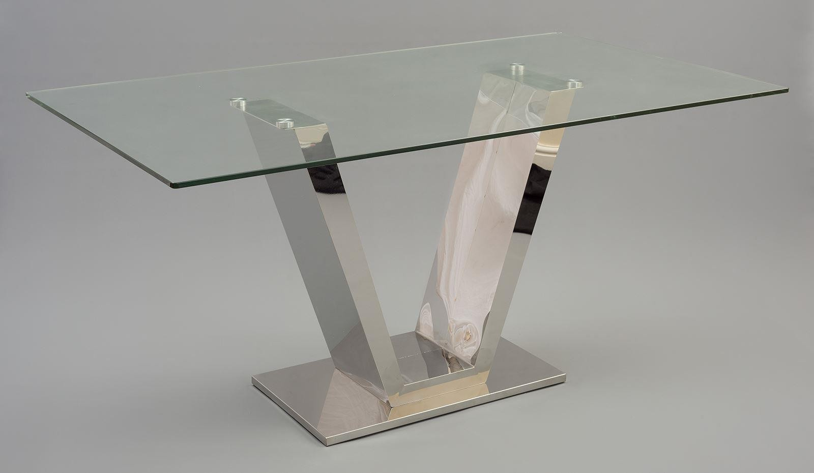 Valentino Glass and Steel Designer Dining Table