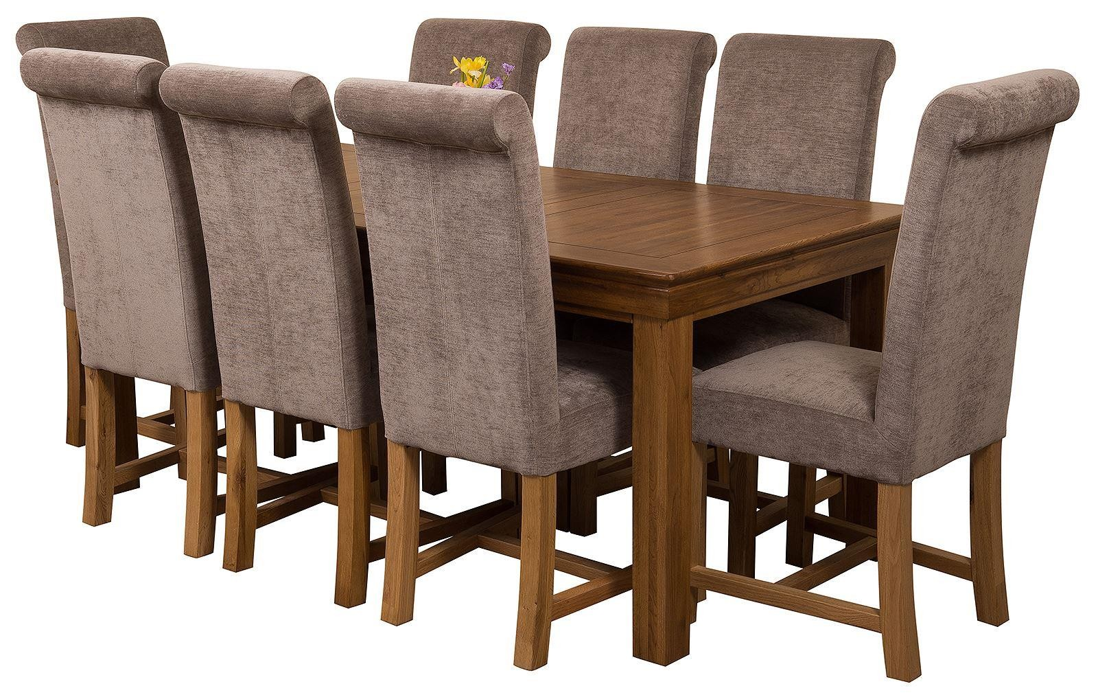 French Chateau Rustic Solid Oak 180cm Dining Table With 8 Washington
