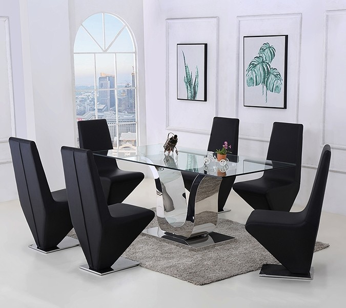 Alexandria Glass and Chrome 180 cm Dining Table and 6 Black Rita Chairs Set