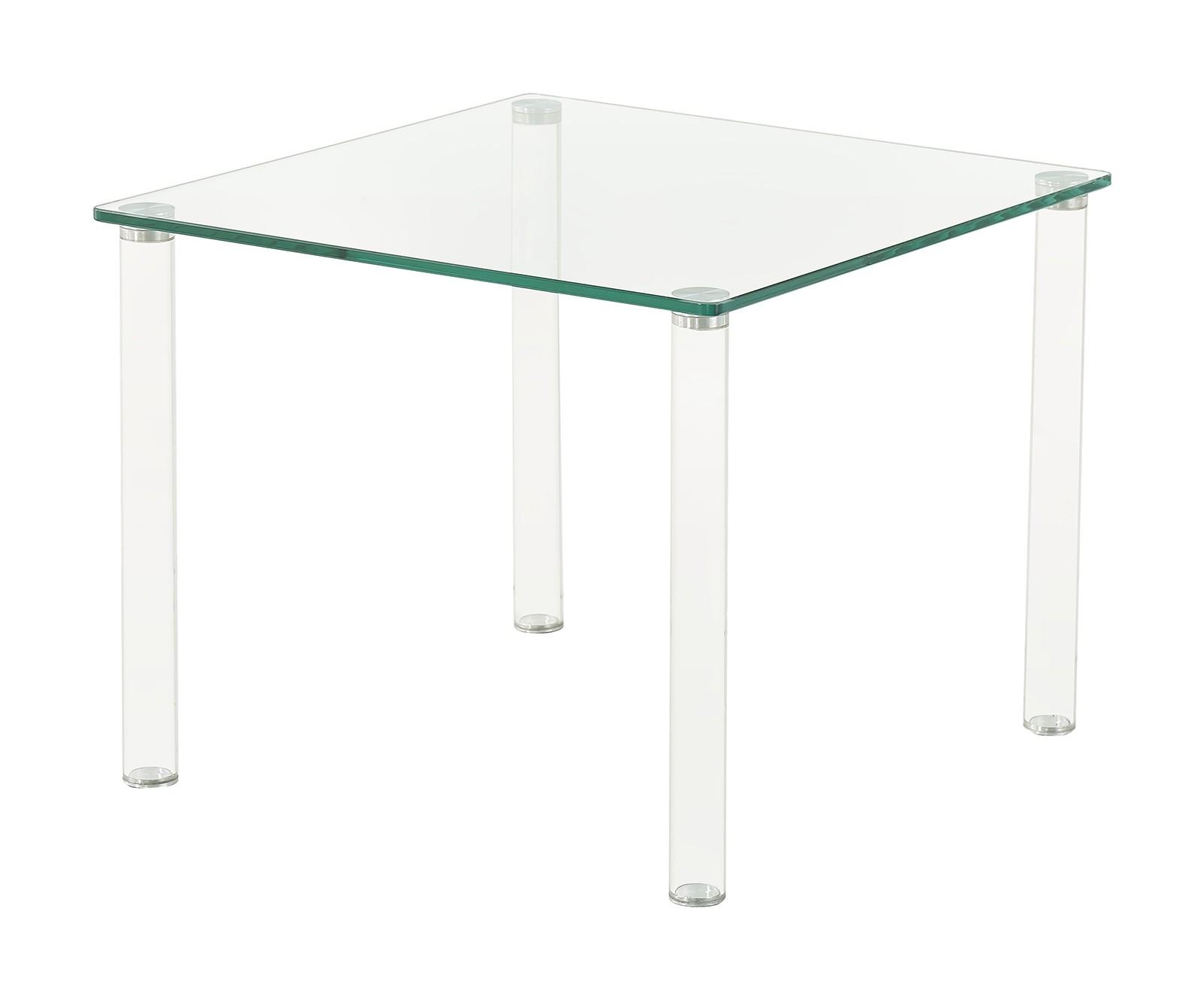 Glacier Modern Glass and Tube Leg Design Side Table