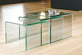 Milan Glass Nest of Tables [Clear Glass]