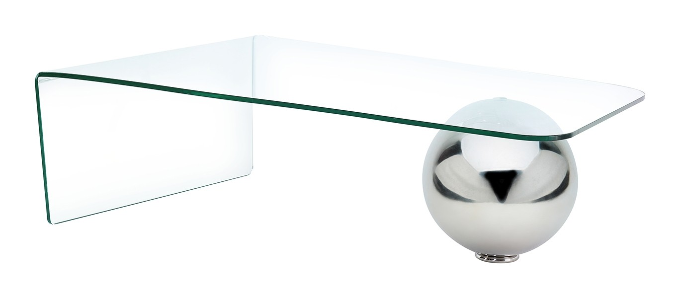 Neptune Stylish Bent Glass and Steel Ball Coffee Table Living Room Furniture