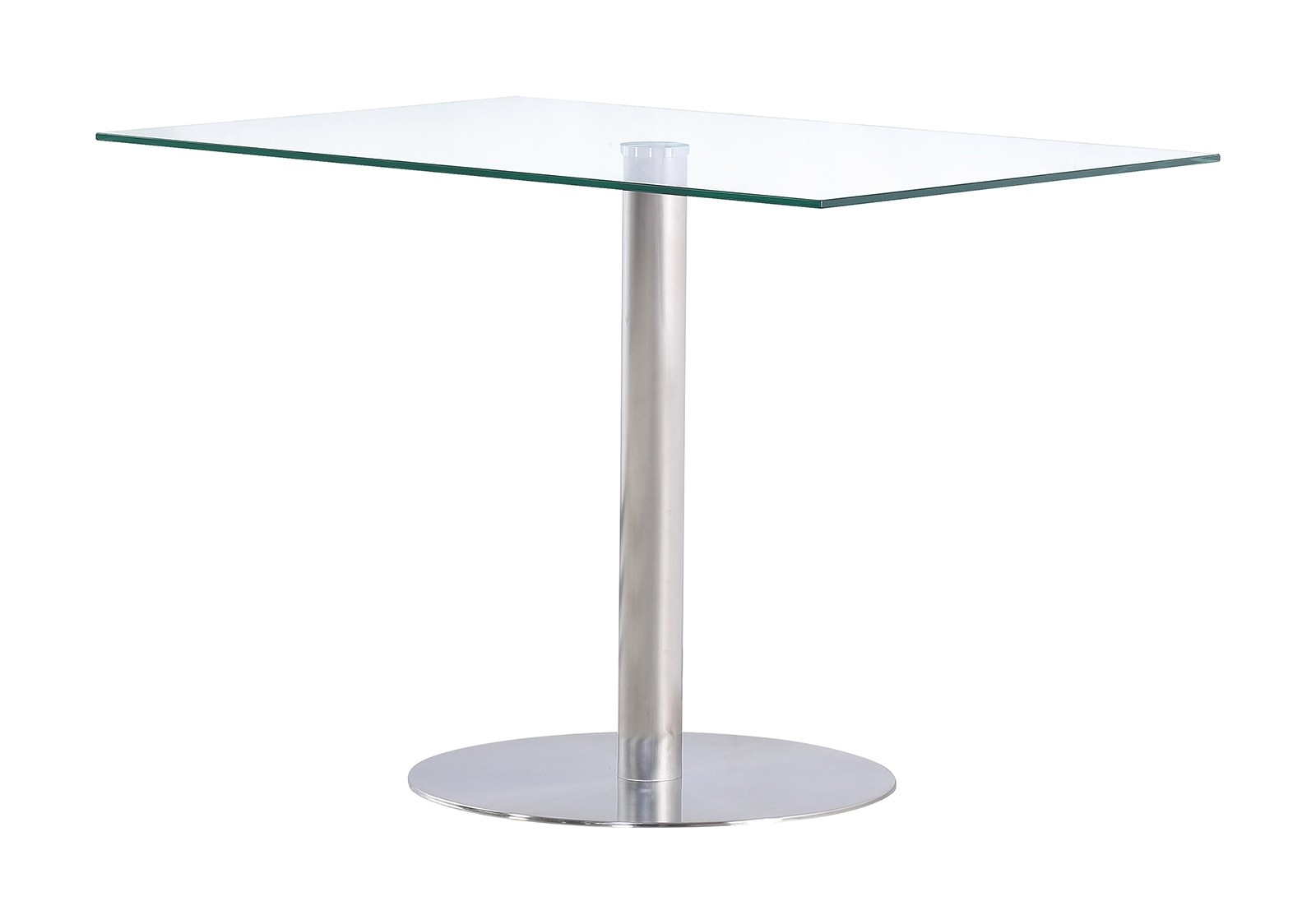 Sephora Stylish Modern Designer Glass and Steel Dining Room Kitchen Table