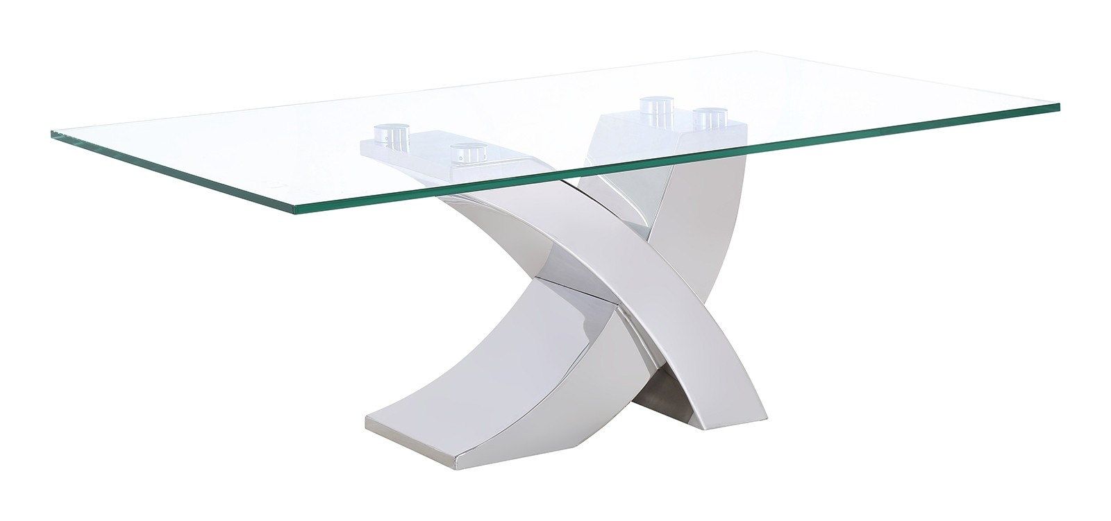 Valencia Modern Glass and Steel Cross leg Coffee Table Living Room Furniture