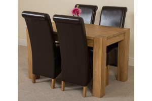 Kuba Solid Oak 125cm Dining Table with 4 Montana Dining Chairs [Brown Leather]