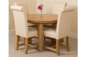 Edmonton Solid Oak Extending Oval Dining Table With 4 Washington Dining Chairs [Ivory Leather]
