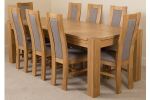 Kuba Solid Oak 220cm Dining Table with 8 Stanford Solid Oak Dining Chairs [Light Oak and Grey Fabric]
