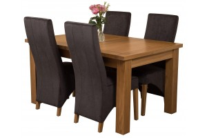 Seattle Solid Oak 150cm-210cm Extending Dining Table with 4 Lola Dining Chairs [Black Fabric]