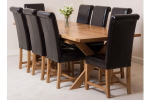 Vermont Solid Oak 200cm-240cm Crossed Leg Extending Dining Table with 8 Washington Dining Chairs [Brown Leather]
