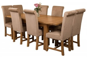 Seattle Solid Oak 150cm-210cm Extending Dining Table with 8 Washington Dining Chairs [Beige Fabric]