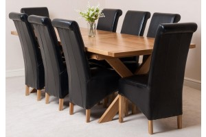 Vermont Solid Oak 200cm-240cm Crossed Leg Extending Dining Table with 8 Montana Dining Chairs [Black Leather]