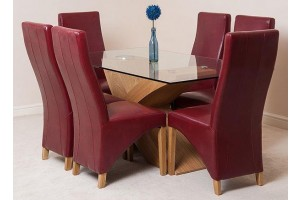 Valencia Oak 160cm Wood and Glass Dining Table with 6 Lola Dining Chairs [Burgundy Leather]