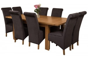 Seattle Solid Oak 150cm-210cm Extending Dining Table with 8 Montana Dining Chairs [Black Fabric]