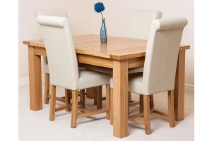 Seattle Solid Oak 150cm-210cm Extending Dining Table with 4 Washington Dining Chairs [Ivory Leather]