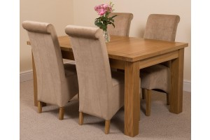 Seattle Solid Oak 150cm-210cm Extending Dining Table with 4 Montana Dining Chairs [Beige Fabric]