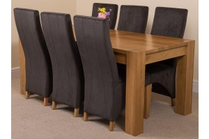 Kuba Solid Oak 180cm Dining Table with 6 Lola Dining Chairs [Black Fabric]