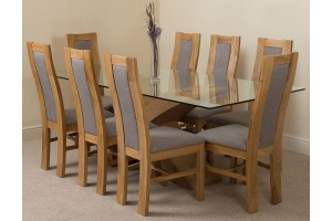 Valencia Oak 200cm Wood and Glass Dining Table with 8 Stanford Solid Oak Dining Chairs [Light Oak and Grey Fabric]