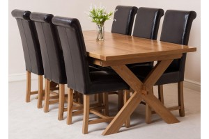 Vermont Solid Oak 200cm-240cm Crossed Leg Extending Dining Table with 6 Washington Dining Chairs [Brown Leather]