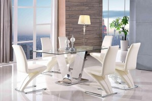 Valentino Glass and Steel Designer Dining Table with 6 Zed Designer Dining Chairs [Ivory]