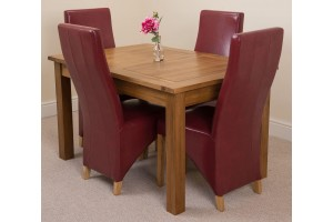 Cotswold Rustic Solid Oak 132cm-198cm Extending Farmhouse Dining Table with 4 Lola Dining Chairs [Burgundy Leather]