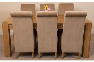 Kuba Solid Oak 180cm Dining Table with 6 Montana Dining Chairs [Beige Fabric]