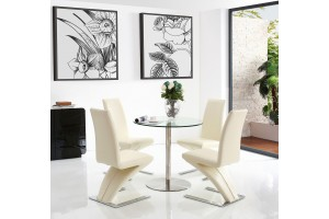 Target Round Glass and Steel 80cm Dining Table with 4 Zed Designer Dining Chairs [Ivory]