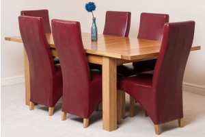 Seattle Solid Oak 150cm-210cm Extending Dining Table with 6 Lola Dining Chairs [Burgundy Leather]