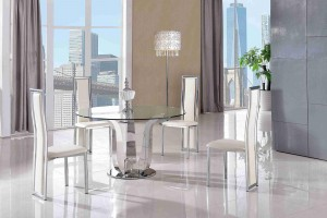 Naples Glass and Polished Steel Dining Table with 4 Elsa Designer Dining Chairs [Ivory]