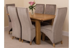 Hampton Solid Oak 120-160cm Extending Dining Table with 6 Lola Dining Chairs [Grey Fabric]