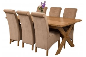 Vermont Solid Oak 200cm-240cm Crossed Leg Extending Dining Table with 6 Montana Dining Chairs [Beige Fabric]