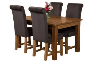 Cotswold Rustic Solid Oak 132cm-198cm Extending Farmhouse Dining Table with 4 Washington Dining Chairs [Black Fabric]