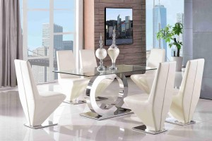 Channel Glass and Polished Steel Dining Table with 6 Rita Designer Dining Chairs [Ivory]