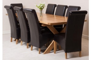 Vermont Solid Oak 200cm-240cm Crossed Leg Extending Dining Table with 8 Montana Dining Chairs [Brown Leather]