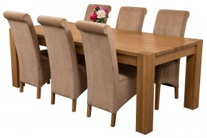 Kuba Solid Oak 220cm Dining Table with 6 Montana Dining Chairs [Beige Fabric]