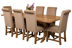 Vermont Solid Oak 200cm-240cm Crossed Leg Extending Dining Table with 8 Washington Dining Chairs [Beige Fabric]
