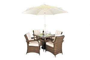 Arizona Rattan Garden Furniture [4 Seat Dining Set with Square Table]