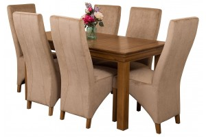 French Chateau Rustic Solid Oak 150cm Dining Table with 6 Lola Dining Chairs [Beige Fabric]