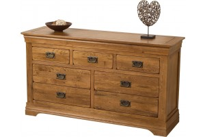 French Chateau Rustic Solid Oak Chest of Drawers [3+4 drawer]