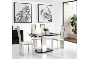 Front of Enzo 80-120cm Extending Glass Dining Table with 4 Elsa Designer Dining Chairs [Ivory]
