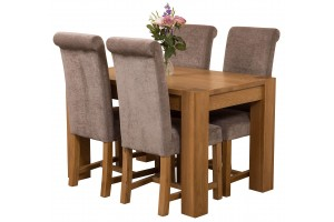 Kuba Solid Oak 125cm Dining Table with 4 Washington Dining Chairs [Grey Fabric]
