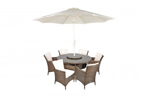 Savannah Rattan Garden Furniture [6 Seat Dining Set Plus Back Cushion]