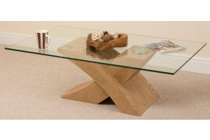 Milano Coffee Table [Glass and Solid Oak] 1