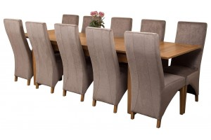 Richmond Solid Oak 200cm-280cm Extending Dining Table with 10 Lola Dining Chairs [Grey Fabric]