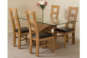 Valencia Oak 160cm Wood and Glass Dining Table with 4 Yale Solid Oak Dining Chairs [Light Oak and Brown Leather]